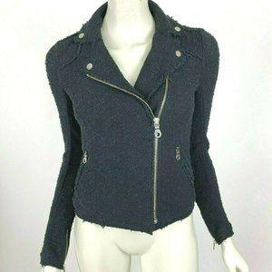 Rebecca Taylor Tweed Jacket Fringe Trim Long Sleev